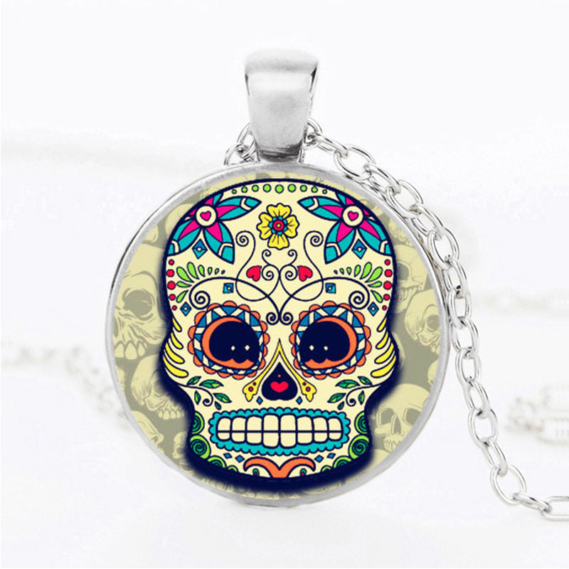 Rounded Cheeks Sugar Skull Necklace.