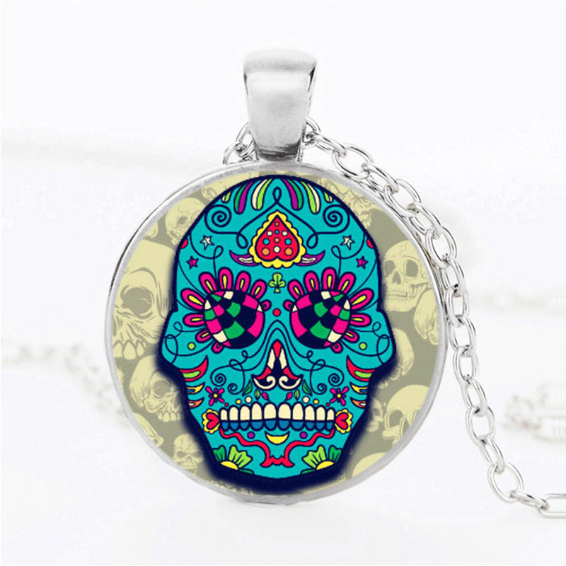 Turquoise Face Sugar Skull Necklace.
