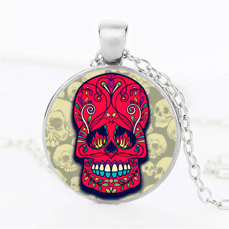Bright Red Sugar Skull Necklace.