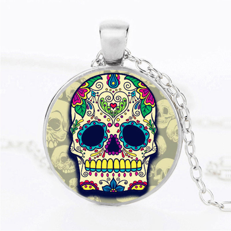Blue Drop Sugar Skull Necklace.