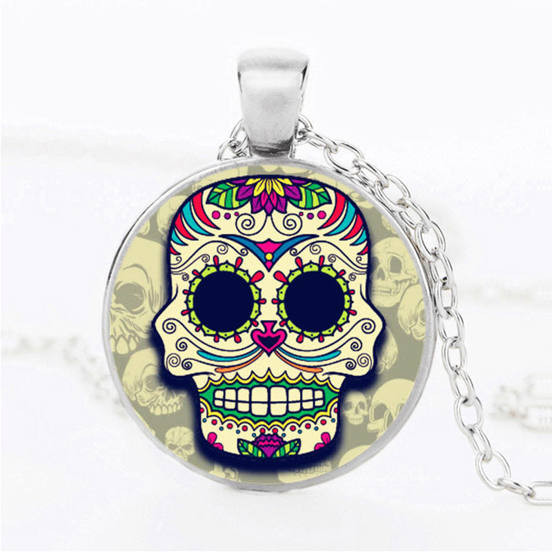 Purple Diamond Sugar Skull Necklace.