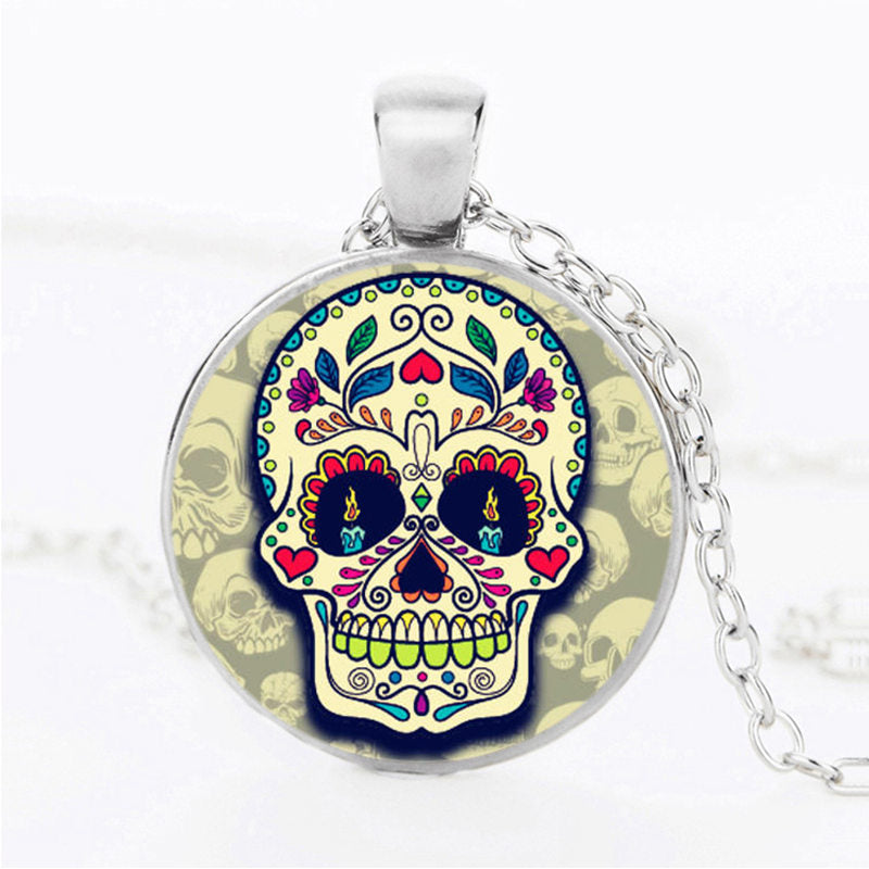 Candle Eyes Sugar Skull Necklace.