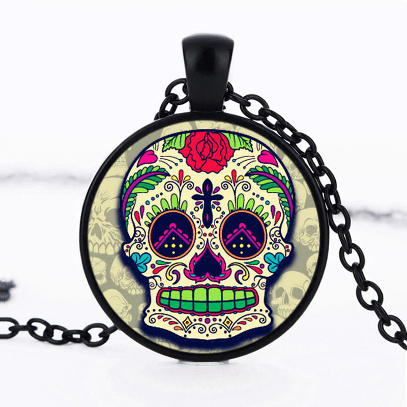 Black Cross Sugar Skull Necklace.