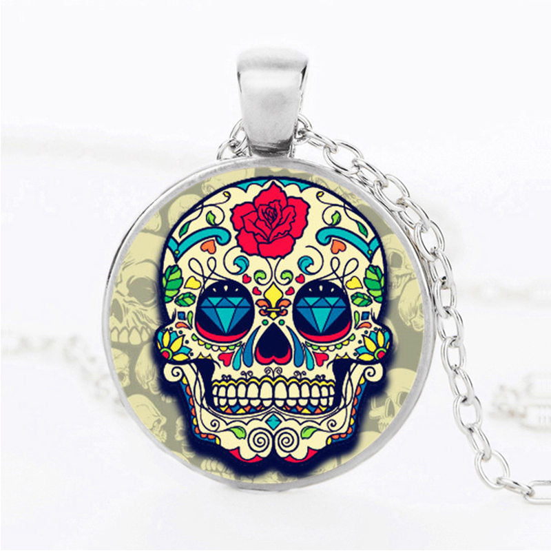 Dark Blue Diamond Eyes Sugar Skull Necklace.