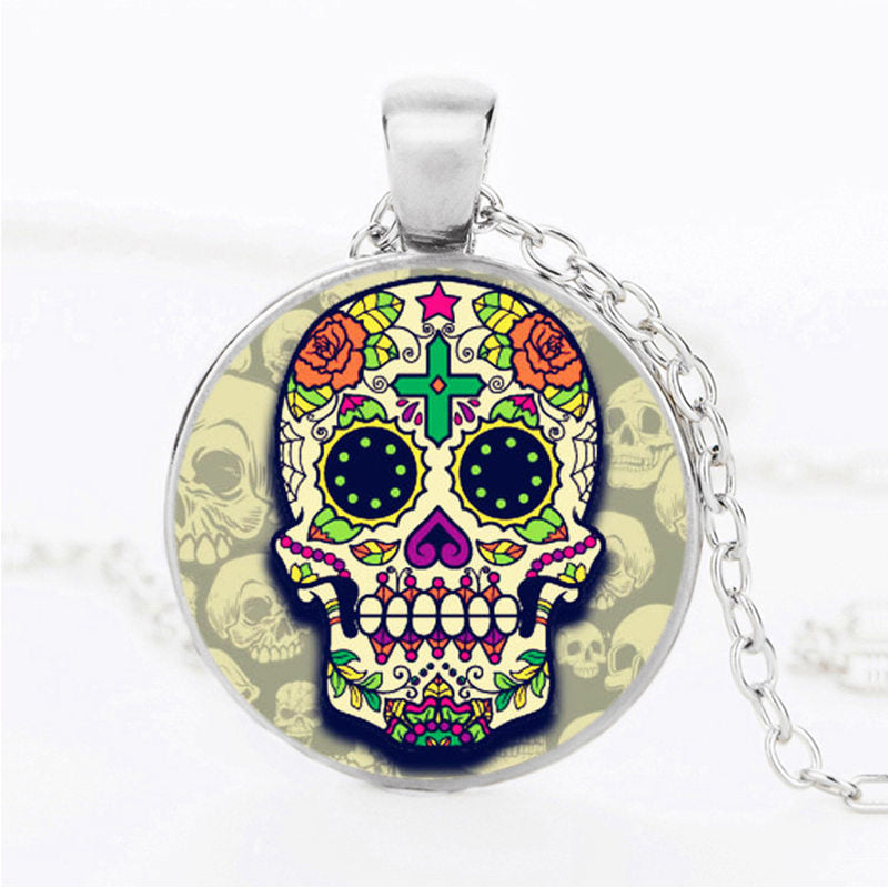 Green Dots Sugar Skull Necklace.