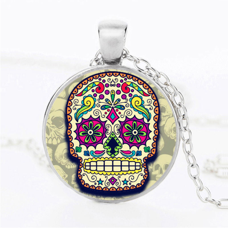 Orange Outline Sugar Skull Necklace.