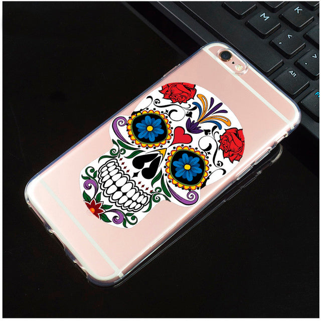 Two Roses Transparent Sugar Skull iPhone Cover