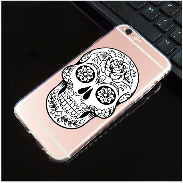 Black And White Rose Transparent Sugar Skull iPhone Cover