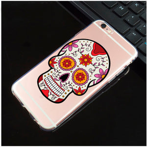 Pink Flowers On Side Transparent Sugar Skull iPhone Cover