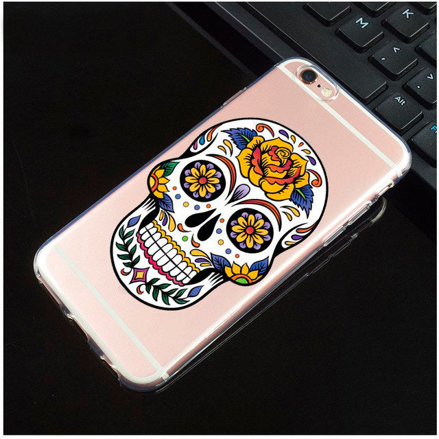Yellow Rose Transparent Sugar Skull iPhone Cover