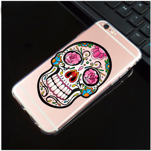 Pink Roses Transparent Sugar Skull iPhone Cover