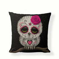 Pink Owl Sugar Skull Pillow Cover.