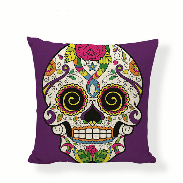 Spiral Eyes Sugar Skull Pillow Cover.