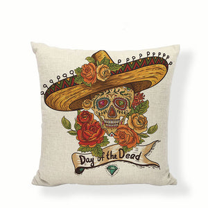 Sombrero Sugar Skull Pillow Cover.