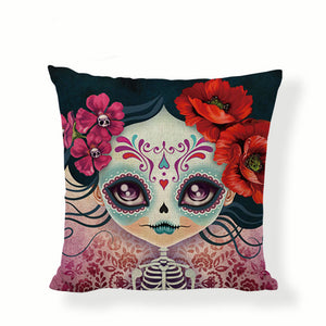 Slim Face Sugar Skull Pillow Cover.
