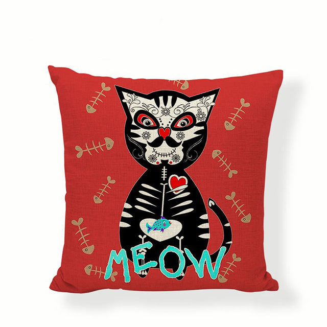 Meow Sugar Skull Pillow Cover.
