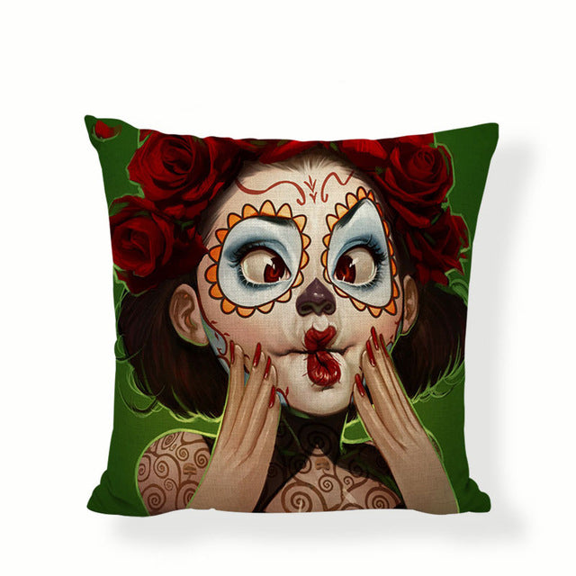 Cheeks Sugar Skull Pillow Cover.