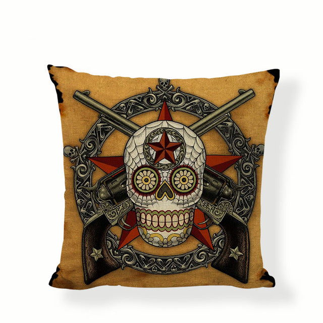 Skull With Guns Sugar Skull Pillow Cover.