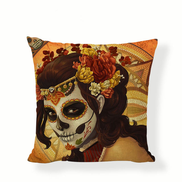 Orange Background Sugar Skull Pillow Cover.