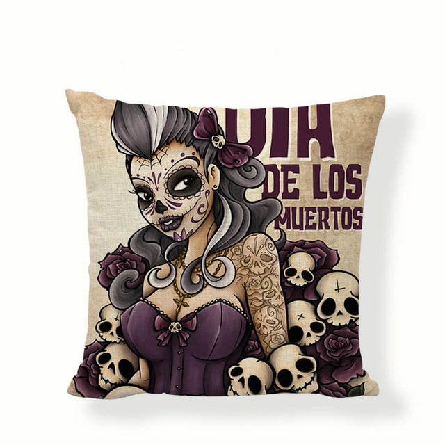 Purple Dia De Los Muertos Sugar Skull Pillow Cover.