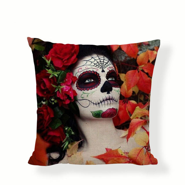 Laying In Flowers Sugar Skull Pillow Cover.