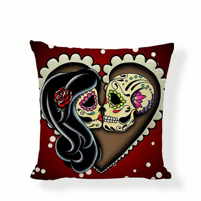 Eternal Love Sugar Skull Pillow Cover.