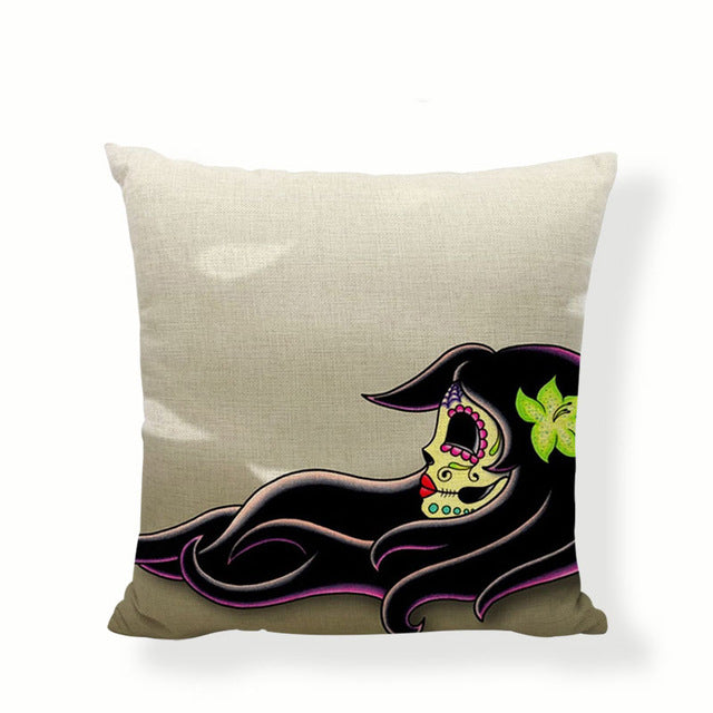 Orchid In Hair Sugar Skull Pillow Cover.