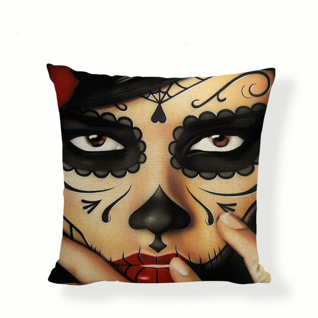Black Nose Sugar Skull Pillow Cover.