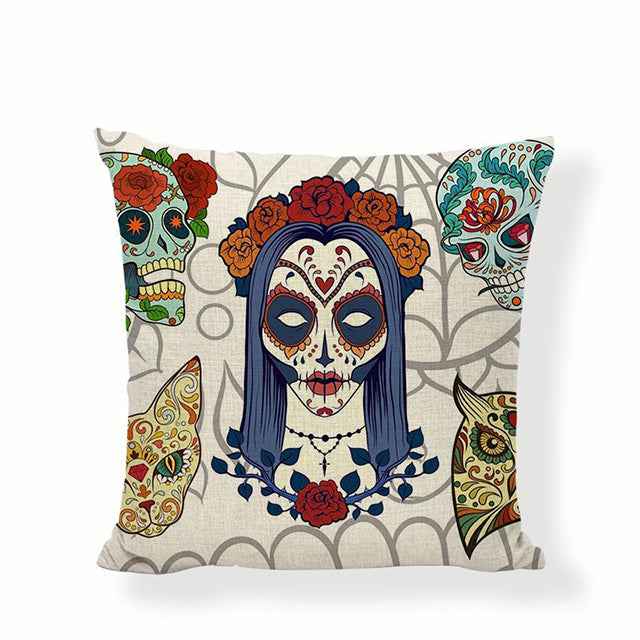 White Eyes Sugar Skull Pillow Cover.