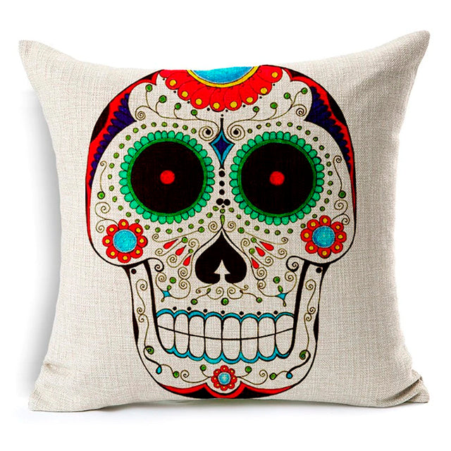 Square Face Sugar Skull Pillow Cover.