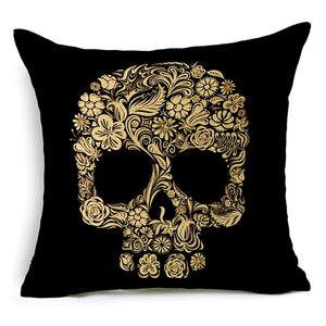 Only 4 Teeth Sugar Skull Pillow Cover.