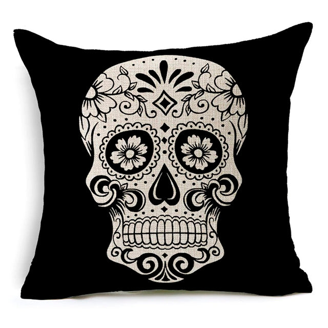Black Squares Sugar Skull Pillow Cover.