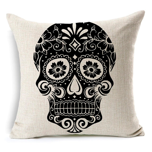White Squares Sugar Skull Pillow Cover.