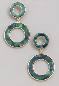 Double Drop Emerald Circle Earrings