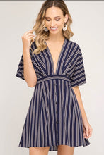 Load image into Gallery viewer, Plunging V-neck & Open Back Navy Dress
