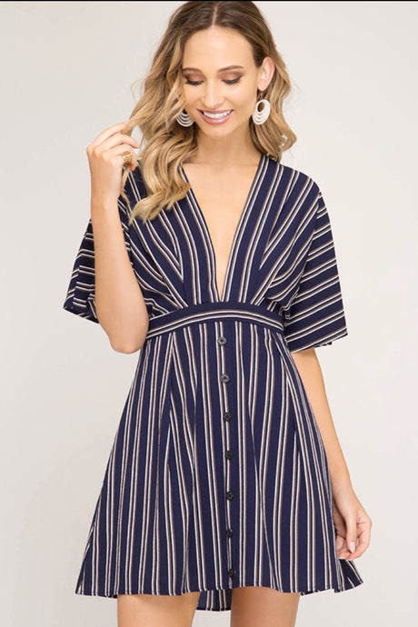 Plunging V-neck & Open Back Navy Dress