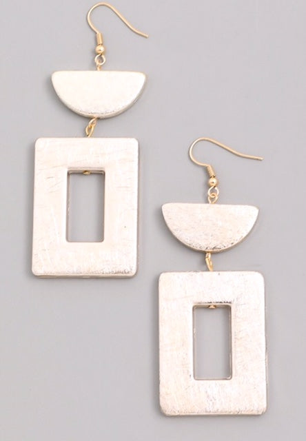 Faux Metal Half Circle Square Dangle Earrings