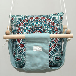 Handmade Baby Canvas Swing Mandala - Blue - Flying Chick