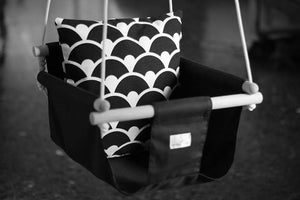 Handmade Baby Canvas Swing Monochrome - Black - Flying Chick