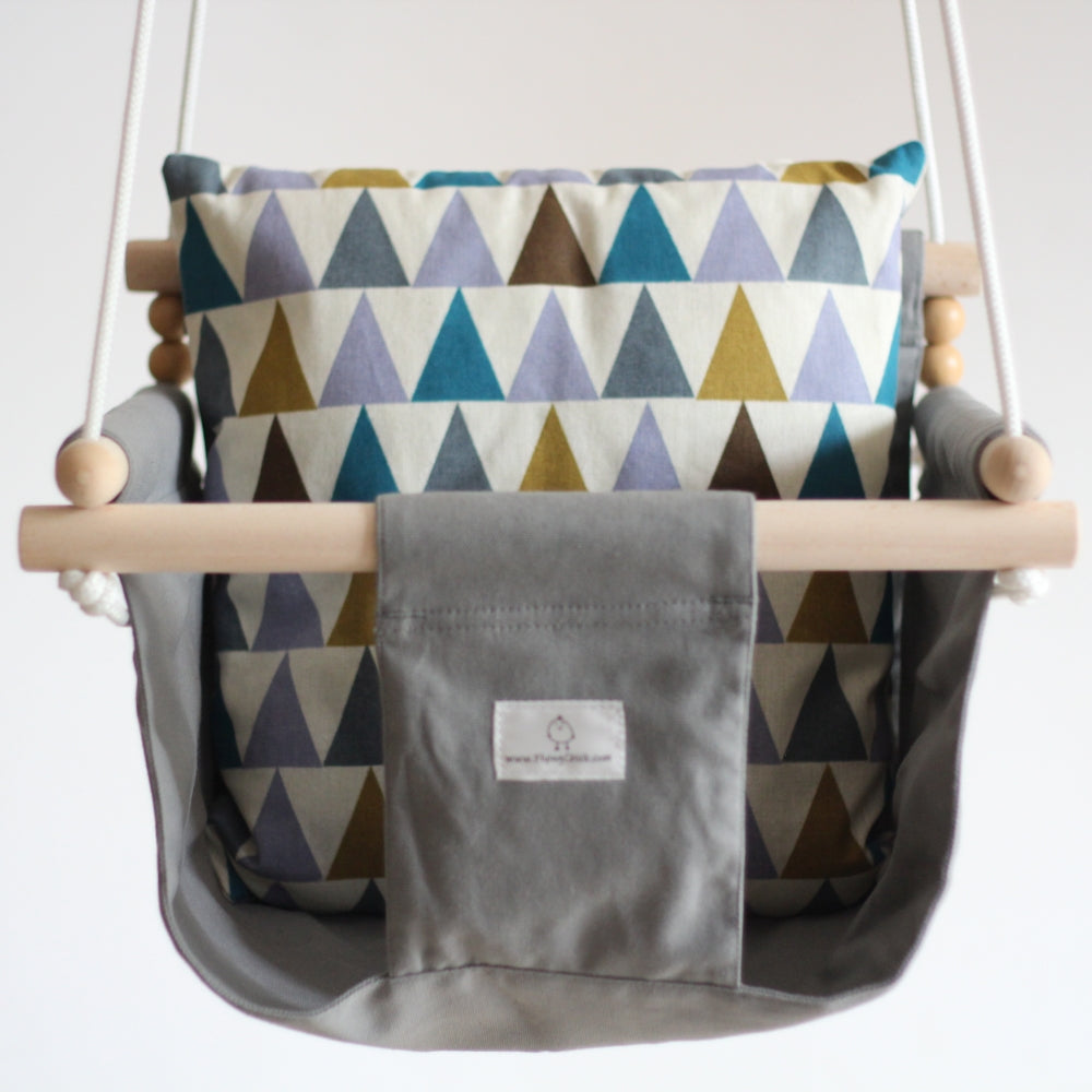 Handmade Baby Canvas Swing Triangles - Grey - Flying Chick