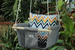 Handmade Baby Canvas Swing ZigZag - Grey