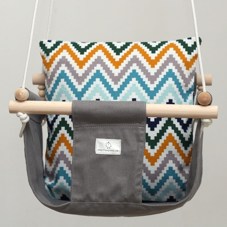 Handmade Baby Canvas Swing ZigZag - Grey - Flying Chick