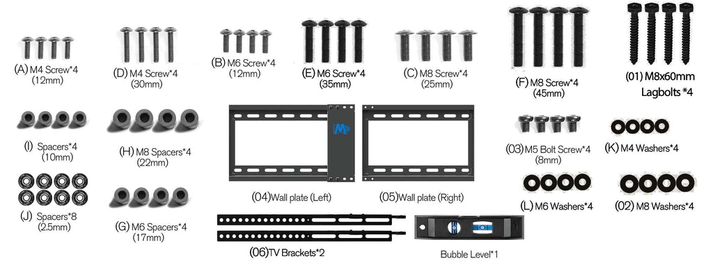 Mounting Dream TV mount hardware and parts MD2163-K