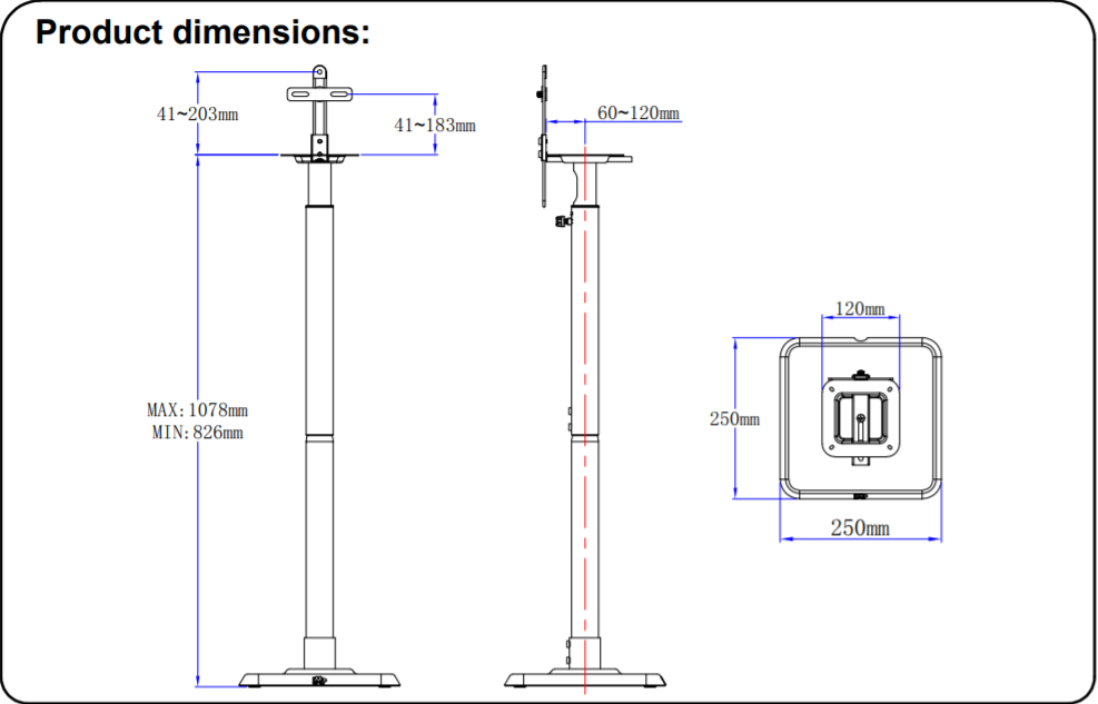speaker stands MD5402 dimensions