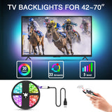 Mounting Dream Led Strip Lights with Remote 9.8ft for 42-70 inch TVs, Waterproof USB TV Backlight Kit, LED Light Strip with 20 Colors Changing 5050 for Car, Bedroom, HDTV, PC Monitor, Home