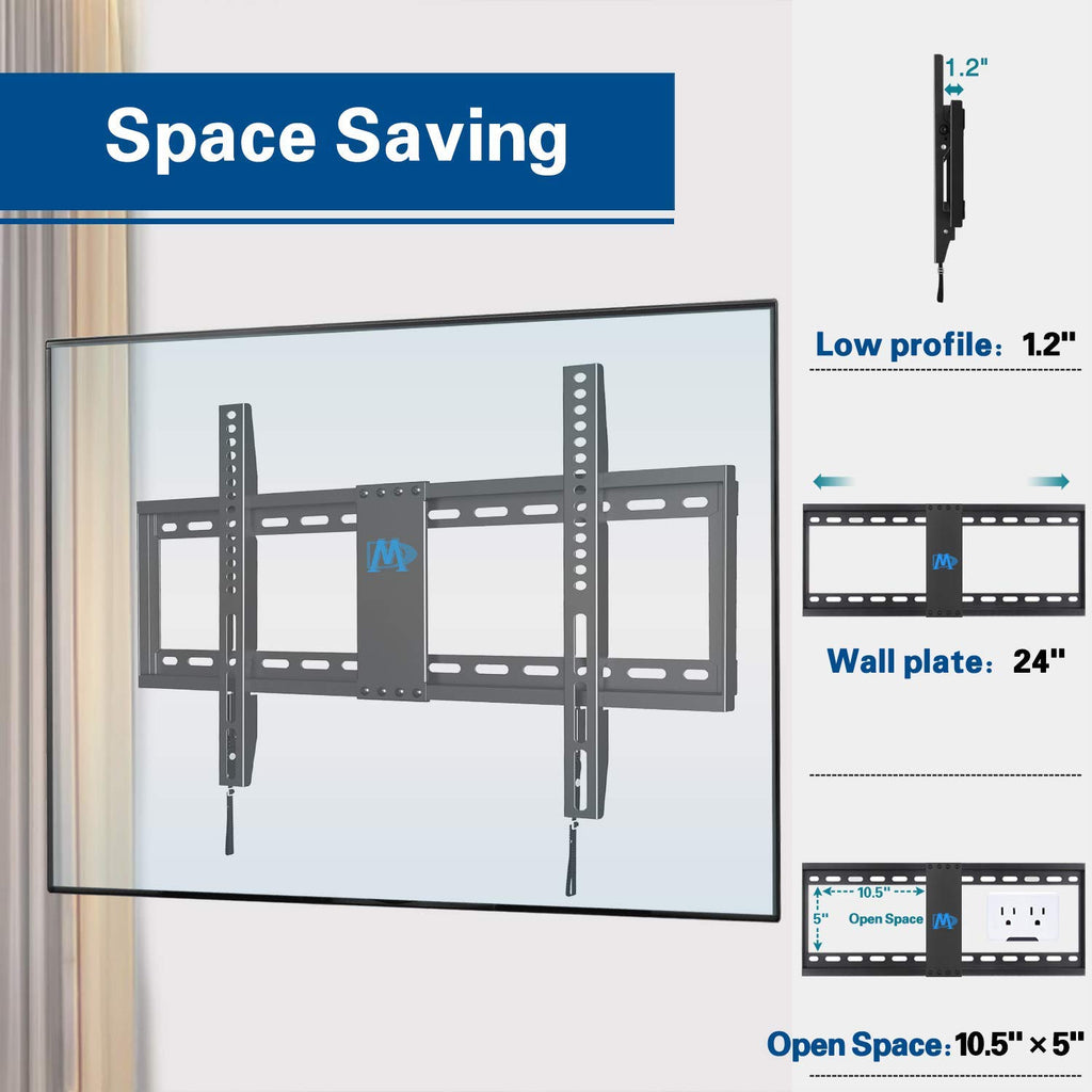 Mounting Dream Low profile TV wall mount for 42-70 inch Sony, Samsumg, LG, TCL led TVs, fixed mount
