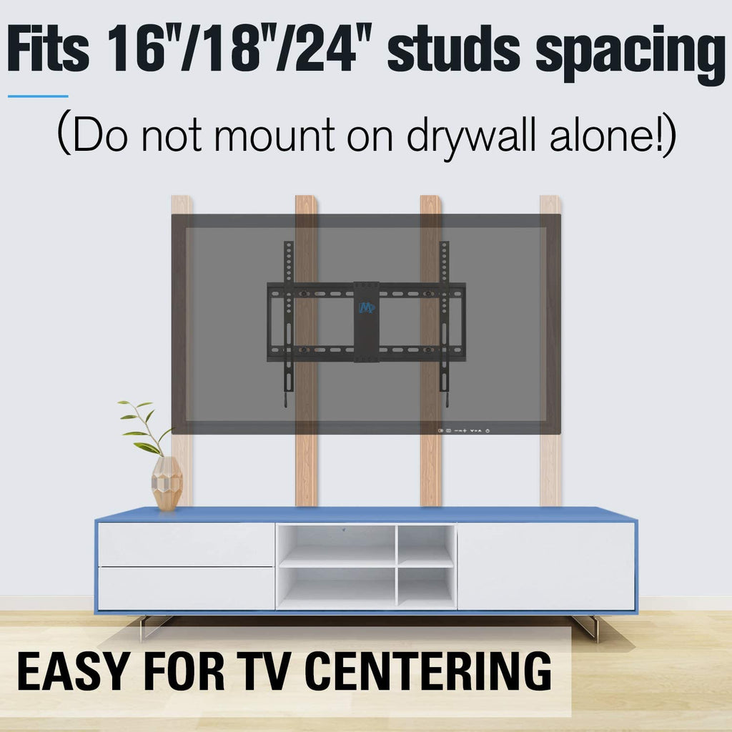 fixed tv mount centers TV easily on off-center wood studs