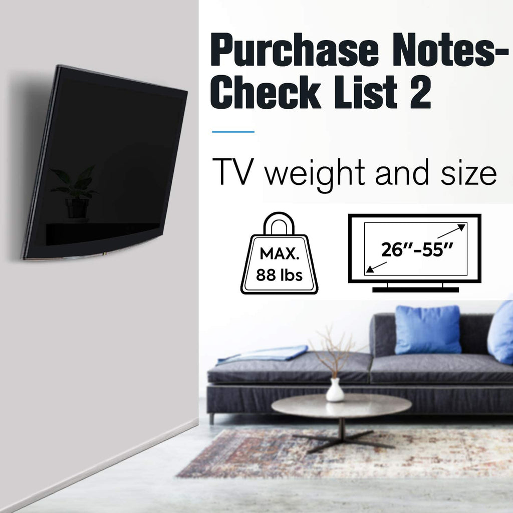 compatile with flat screen tv up to 55 inches and loads up to 88 lbs