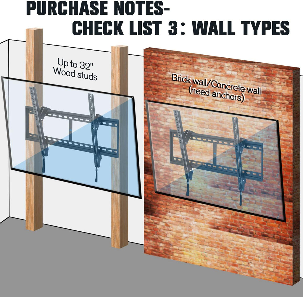 mounting tv on brick/concrete wall or wood studs