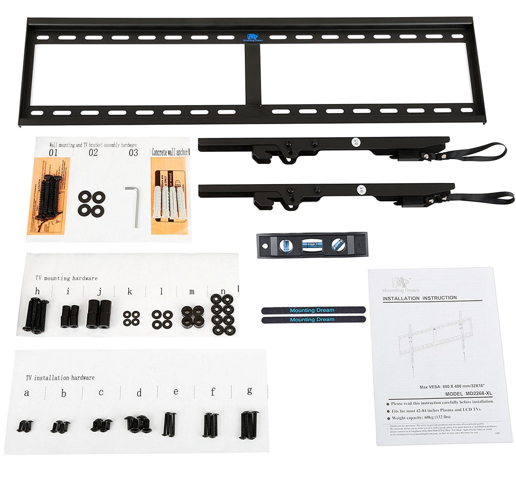 tv screws and user manual to install a tilt TV wall mount